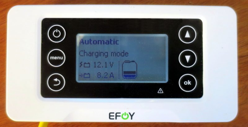 As installed on Gizmo, the EFOY 210 usually outputs 8.6 amps but starts slightly lower