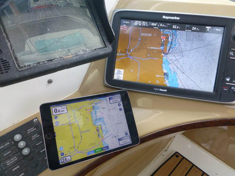 Navionics charts on the MFD and the Navionics Boating HD app running on the iPad