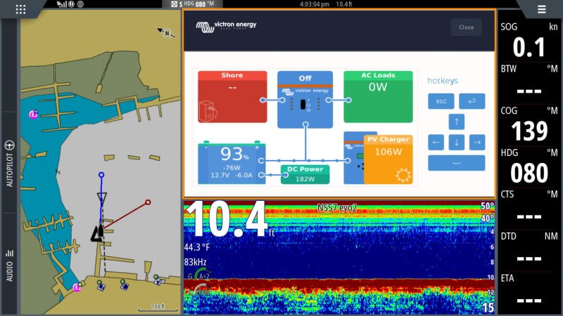 beta test Victron app on Simrad NSS16 evo2 minimum size remote console window