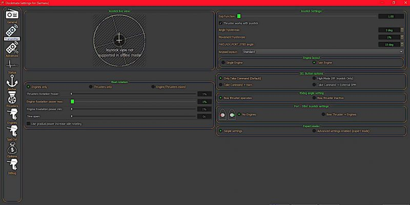 Engine confiugration options and live view of the remote when the configuration PC is connected to the receiver