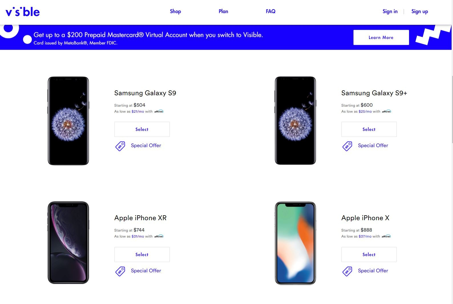 Visible offers recent phones but with some notable omissions