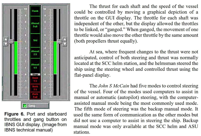 Touchscreen throttles on US Navy Destroyer John S McCain