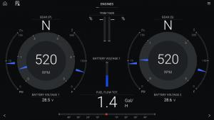 Engine data displayed on a Raymarine Axiom Pro 16