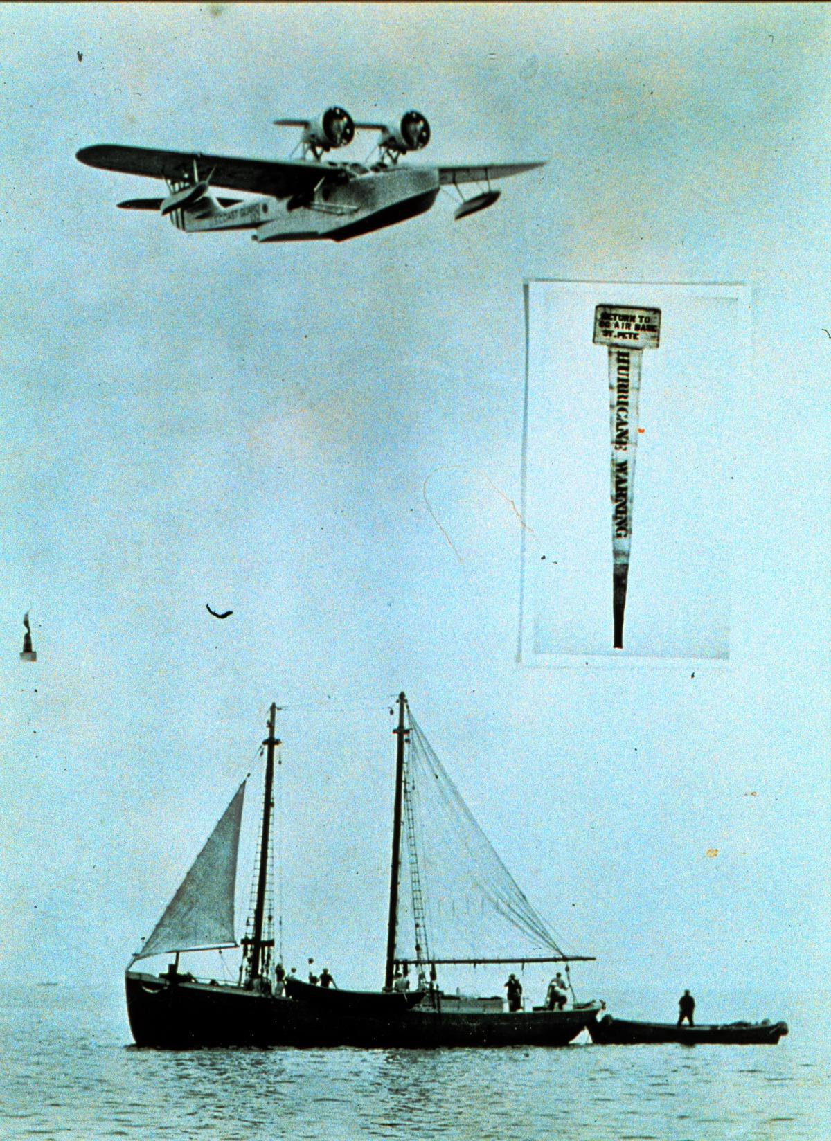 Coast Guard aircraft hand dropping hurricane warnings to sponge fishermen in 1938
