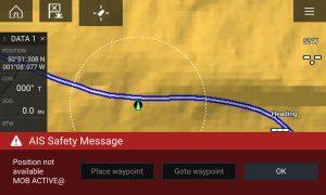MoB alarm generated by Digital Yacht TriNav GPS160 button