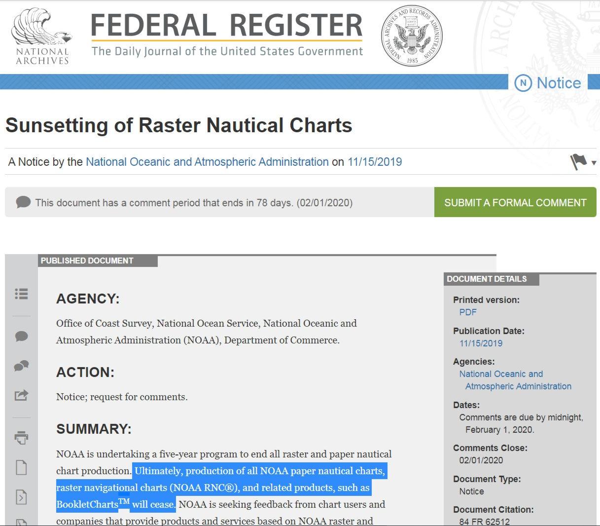 U.S. Federal Register notice November 15, 2019